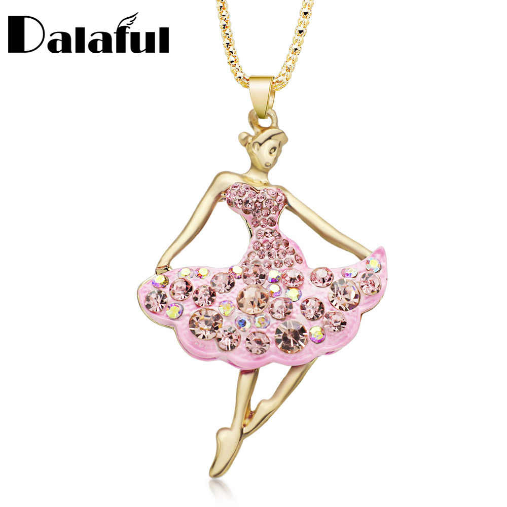 Novelty Ballet Ballerina Dancer Girl Long Necklaces & Pendants Souvenir Gift Women Crystal Jewelry X606