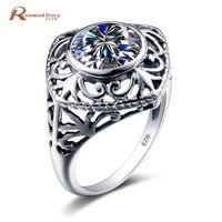 Handmake Unique Jewelry Round Zircon Stone Ring Retro Geniune 925 Sterling Silver Wedding Rings For Women