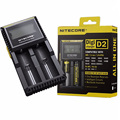 100% Original Display LCD Carregador de Bateria Nitecore Digicharger D2 Carregador Nitecore para 26650 18650 18350 16340 14500 10440