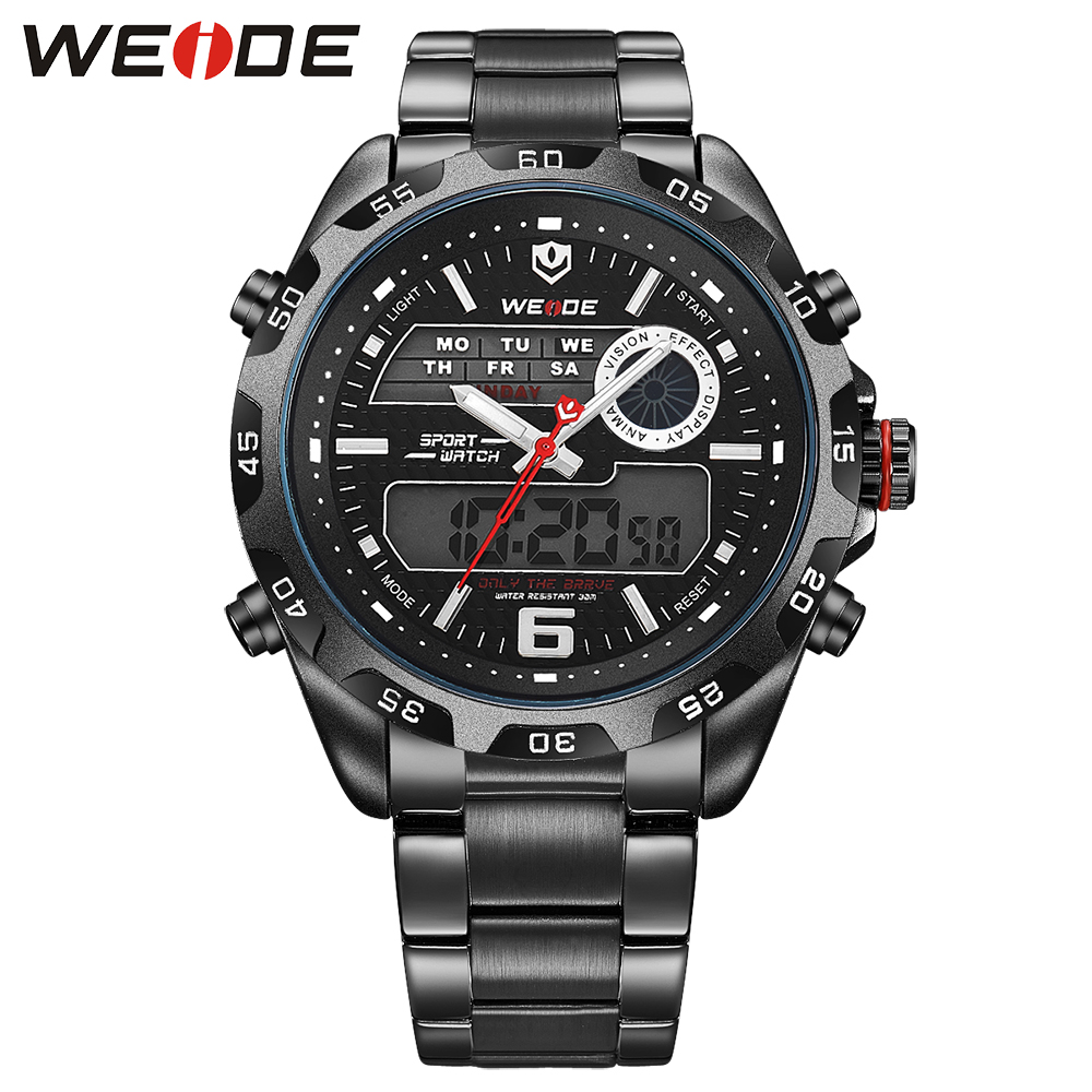 WEIDE luxury Brand Simple Men Sport  quartz Watches 3ATM Water Resistant  Full Stainless Steel Strap All Black Relogio Masculino weide luxury brand men sport watch with full stainless steel strap 30m waterproof analog digital dual movement relogio masculino