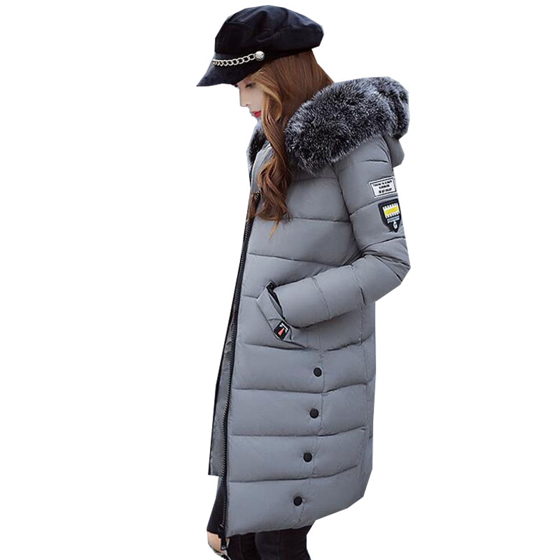Fashion Women 2017 Winter  Long Down Jacket Zip Long Sleeve Faux Fur Hooded Padded Outwear Coat Casual Thicken Parka Overcoat zip up houndstooth pattern long sleeve padded jacket