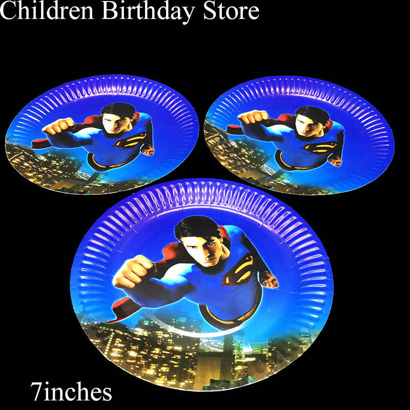10 unids/lote 7 pulgadas Superman placas desechables Superman tema decoraciones para fiesta de cumpleaños Superman placas de papel