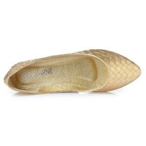 Image 4 - Beyarne Plus Size 35 41 Mode Flats Goud Zilver Flats Voor Vrouwen Platte Hak Schoenen Fashion Flats Gratis verzending