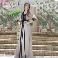 A Line 2016 Arabic Evening Dress Prom Dress Lace Appliques Girls Long Dress for Evening Wear 1/2 Sleeve Celebarte Dress Z028