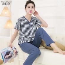 Pajamas For Women Summer Striped Sleep Cotton Sleepwear Thin Short Sleeve Trousers Pyjamas Women Lounge Pajama Set