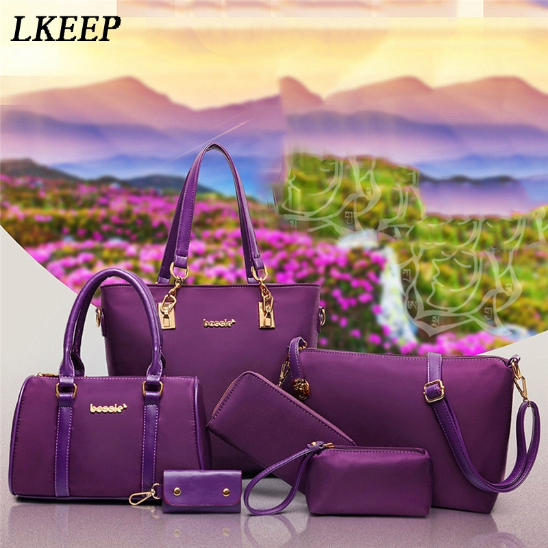 2019 6 Pcs / Set Fashion Women Composite Bags PU Leather Diamond Lattice Print Women Handbag Bag Wallets Purse Key Bag Set