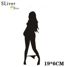 19cm*6cm Stylish Sexy Girl Car Sticker Vinyl Decal Car-Styling Black/Silver #B1426