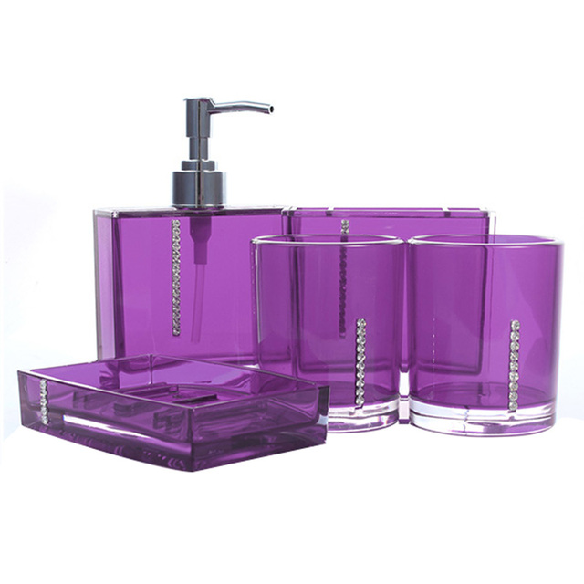 5 Piece Bathroom Bath Toilet Accessories Purple Set Soap Dispenser Toothbrush Tumbler