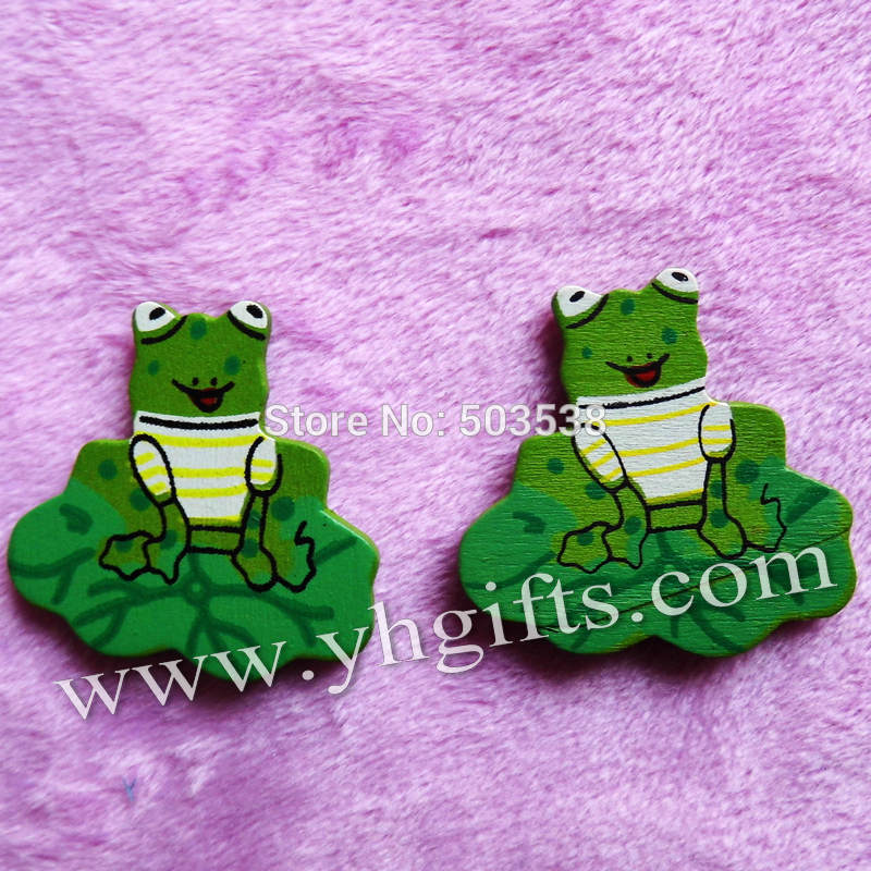 100PCS/LOT.Wood frog on lotus leaf stickers,3.3cm.Kids toys,scrapbooking kit,Early educational DIY.Kindergarten crafts.Classic