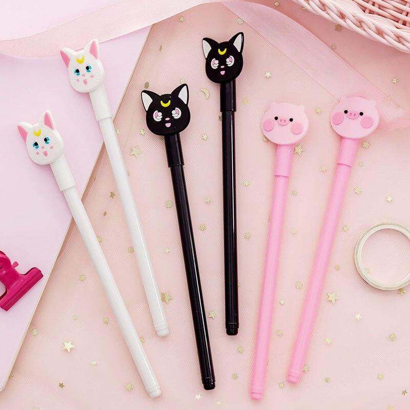 3 Pcs/lot Kawaii Cartoon Sailor Moon Cat Gel Ink Pen Set Promotional Gift Stationery School & Office Supply Christmas Gift