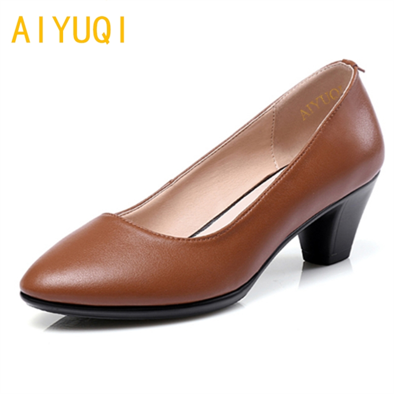 AIYUQI Big size 41#42# women's shoes 2018 new spring genuine leather women's comfortable shoes business dress shoes women aiyuqi plus size 41 42 43 women s flat shoes 2018 spring new genuine leather women shoes soft surface mom shoes women