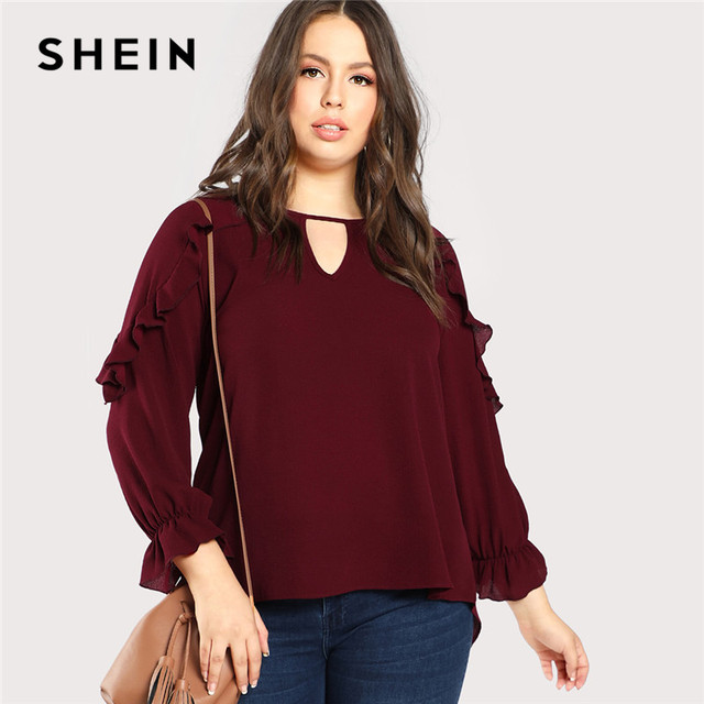 9b42e68f718 SHEIN Burgundy Ruffle Trim Sleeve Casual Plus Size Women Blouses Spring  Autumn Workwear Cutout O Neck Solid Top Blouses
