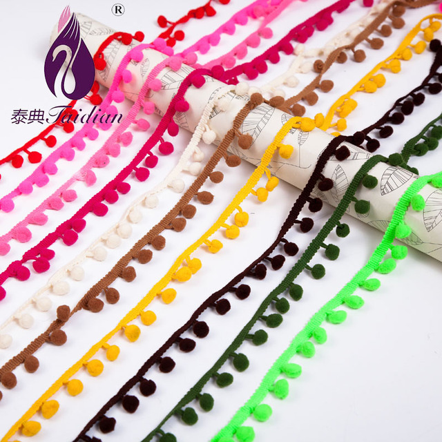 1CM Cute White Pom pom Lace Trim White DIY Sewing Accessories, Tassel Finge Trim