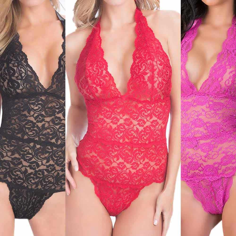 2019 Sexy Body de encaje ahueca hacia fuera los monos de moda Sexy de muselina ropa de limpieza uniformes tentación ropa tops ropa