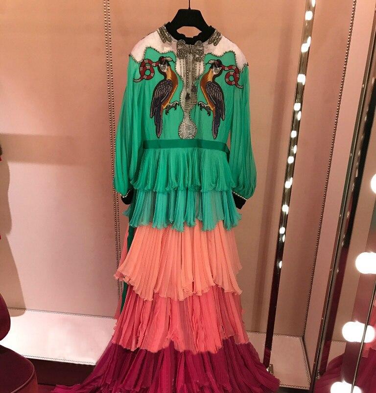 2019 Весна посадочных полосах бриллиантами многослойное платье высокого качества с вышивкой с длинными рукавами богемное платье женская на