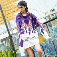 TREND Setter 2018 Spring Fashion Fire Pattern Sweatshirt Women Harakuju Style Long Sleeve Purple Pullovers Loose