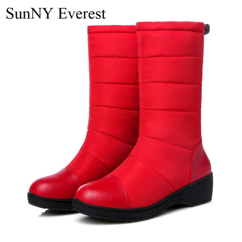 New SunNY Everest shoes woman winter plush mid-calf slip-on snow boots Down boots women black red blue35-44 us12 13