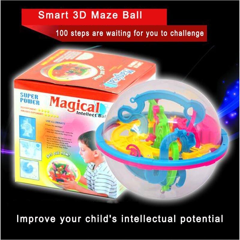 Bueno 100 Pasos 3d Mágico Intelecto Laberinto Bola Pista Rompecabezas Juguete Niños Adultos Bolas Magnéticas Rompecabezas Juego Iq Equilibrio Juguetes Para Los Niños