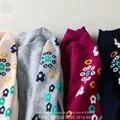 2016 Hot Marca Mulheres Coelho Angorá Cashmere O Pescoço Blusas de Inverno das Mulheres Cashmere Pullover Floral Jumper de Mangas Túnica Pull