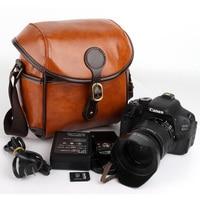 Rétro PU DSLR Sac Photo Pour Canon EOS 750D 1300D 200D 5D 6D 60D T5i T6i Nikon D7500 D5300 D3400 Sony A7 A7M3 Sac À Bandoulière