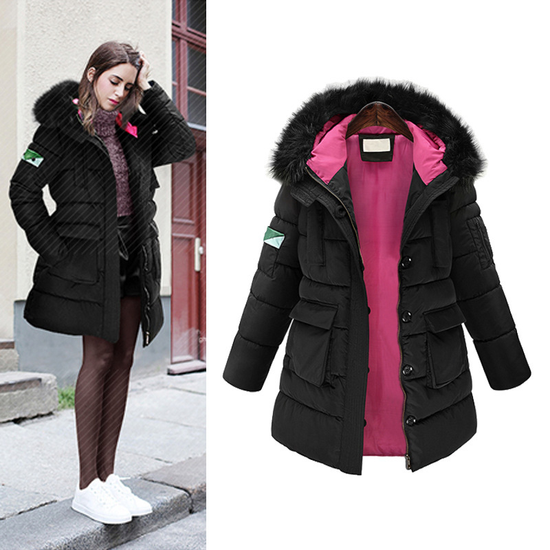 2017 Autumn And Winter Jacket Women Big Yards Loose Parka Long Sleeved Slim Solid Ms Cotton-padded Clothes Women's Coat olgitum new autumn winter jacket coat women parka woman clothes solid long jacket slim women s winter jackets and coats cc107