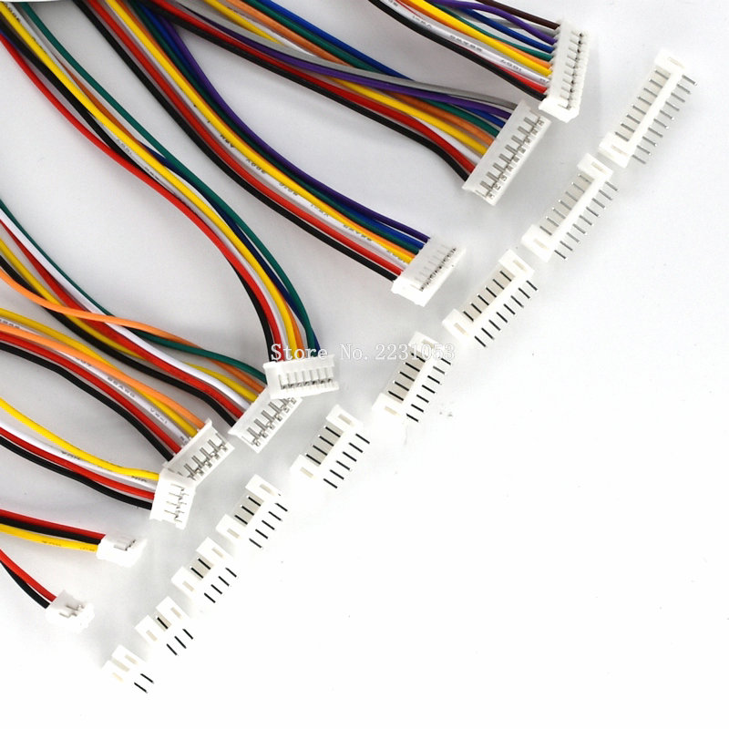 10Sets Mini Micro 2.0 PH Connector Male Female 2/3/4/5/6/7/8/9/10-Pin Plug With Wires Cables Socket 300MM 26AWG PH2.0 New