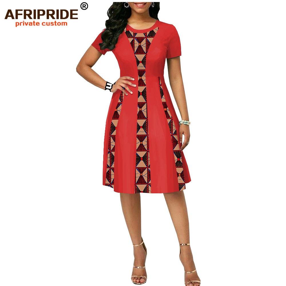 2019 zomer afrikaanse print jurk voor vrouwen AFRIPRIDE tailor made korte mouwen knielengte vrouwen casual wax katoenen jurk A1825087-in Jurken van Dames Kleding op  Groep 3