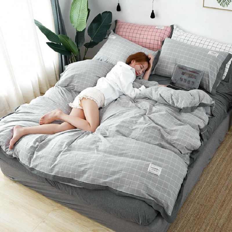 קצר יפני סגנון 4pcs טהור כותנה מיטה שמיכה כיסוי מיטת גיליון ציפית משובץ אפור גדול אדום כהה כחול מוצק