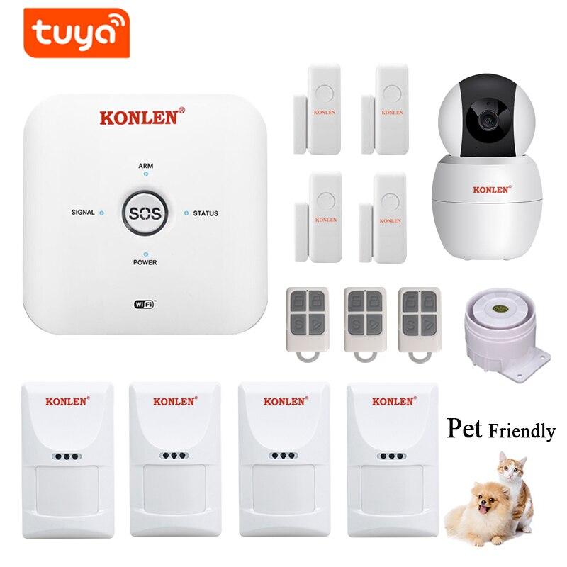 WIFI GSM Tuya Mini Alarm System Kit Wireless with IP Camera For