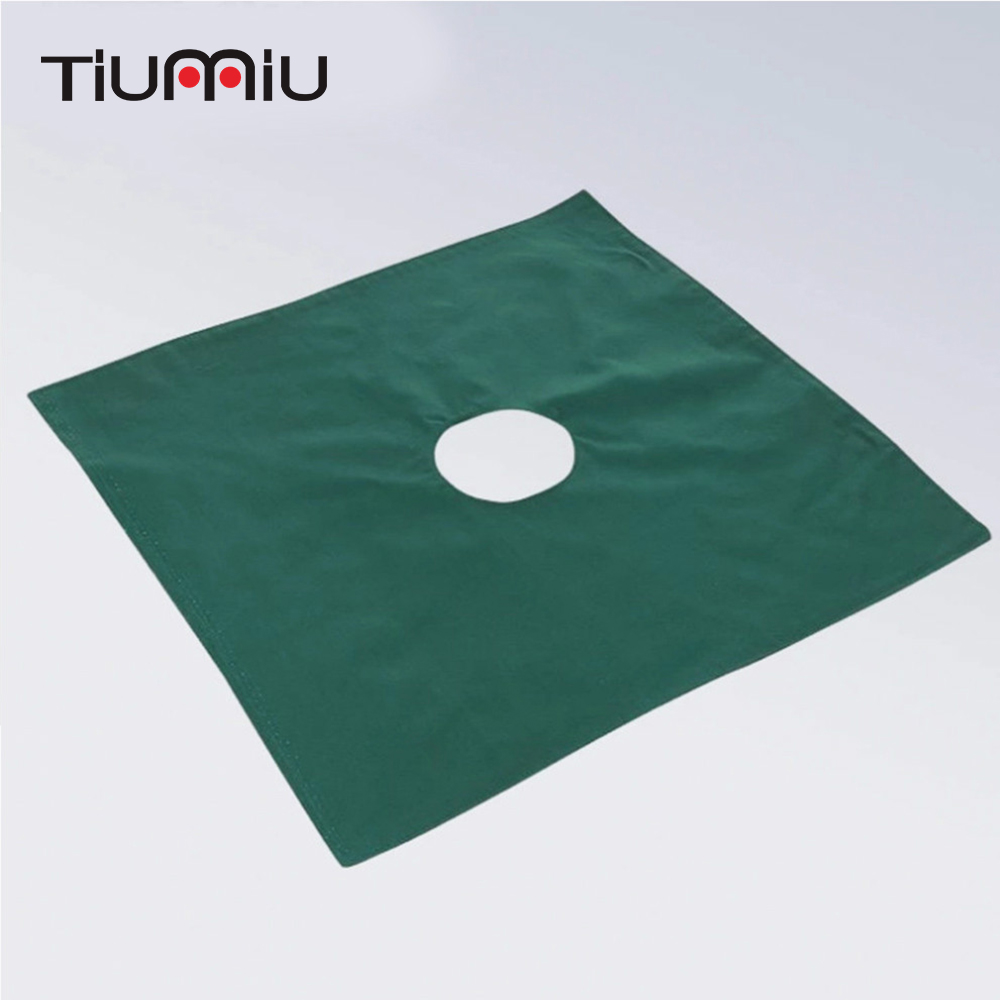 50X50cm Single Surgery Surgical Hole Drapes Medical Hole Cover Towel Pure Cotton Green Cosmetic Operation Hole Towel Wholesale