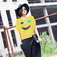 2016 smiley pleated fashion all match o neck short sleeve t shirt pullover top female free shipping
