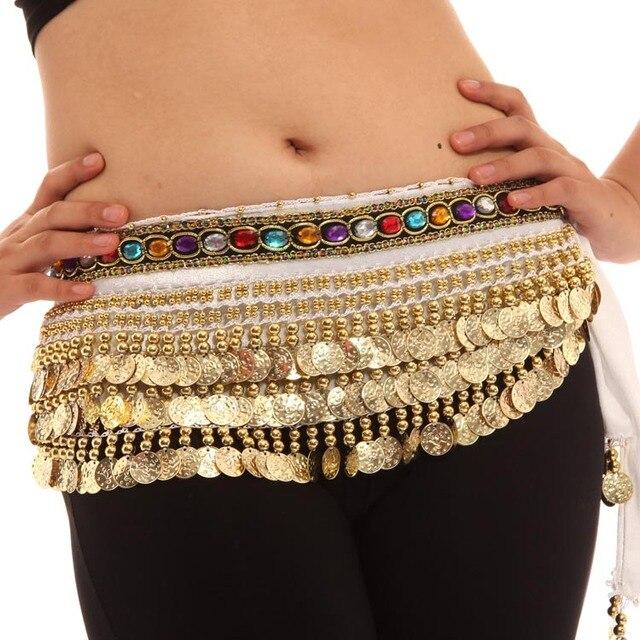 b63502b46 Mulheres Trajes de Dança Do Ventre Lenço de Quadril Envoltório Ouro 248  Cinto de Lantejoulas Saia
