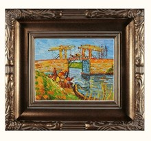 Langlois Bridge at Arles with Women Washing by Vincent Van Gogh Handpainted