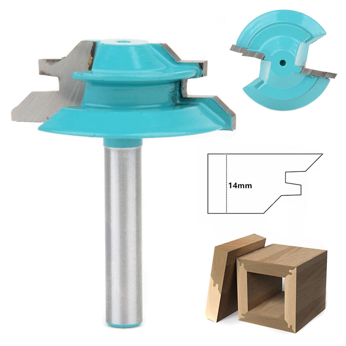 New 1PC 1/4 Shank Lock Miter Router Bit 45 Degree Woodworking Cutter 1-1/2 Diameter For Capenter Tools 1 2 shank 2 1 4 diameter bottom cleaning router bit mayitr high precision woodworking milling cutter cutting tools for mdf