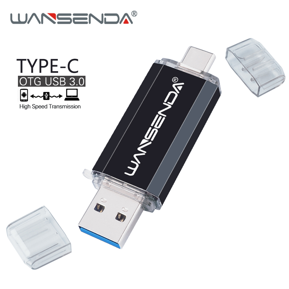 WANSENDA Type C USB Flash Drive OTG Pen Drive 128GB 64GB Dual Plug Micro Usb Stick 3.0 32GB 16GB Pendrive Type-C Flash Disk new usb 3 0 type c otg pen drive 128gb high speed usb flash drive 16gb 32gb 64gb 2 in 1 pendrive usb memory stick flash disk