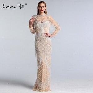 Image 5 - Dubai Luxury Mermaid Tassel Beading Evening Dresses 2020 New Long Sleeves Elegant Sexy Evening Gowns Serene Hill LA6662