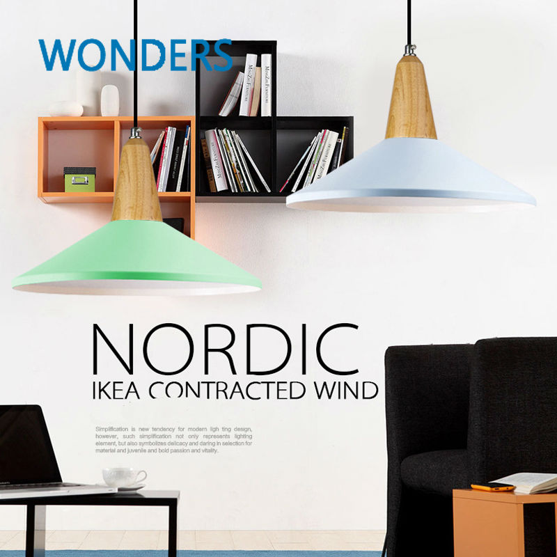 Nordic contracted wind pendant lamps aluminum and wood contemporary art bar counter restaurant bar supermarket shop droplight