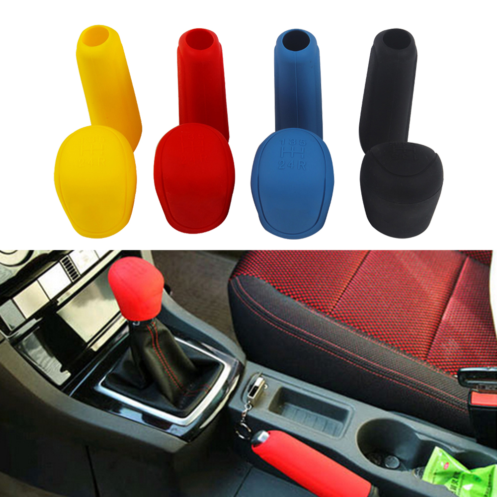 Gear head Shift knob Cover Car Accessories Silicone Car-styling Gear Shift Collars Car hand brake covers Handbrake Grips