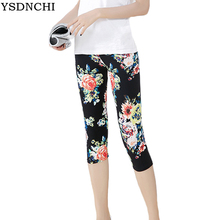 YSDNCHI Floral Print Leggings Stretchy Active Wear Crop Women Sporting Legging High Waist Capris Pants Fitness