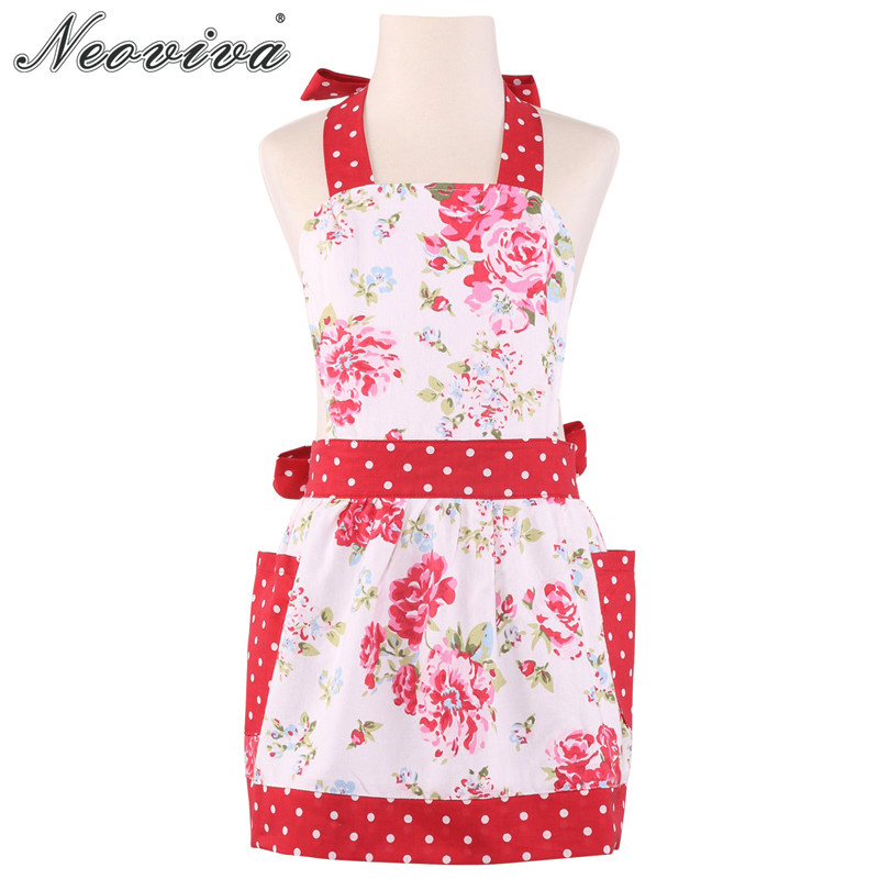 Neoviva Vintage Cotton Canvas Child Apron with Pocket for Kitchen Garden Little Diana Floral Lollipop Red Polka Dot Aprons Clean