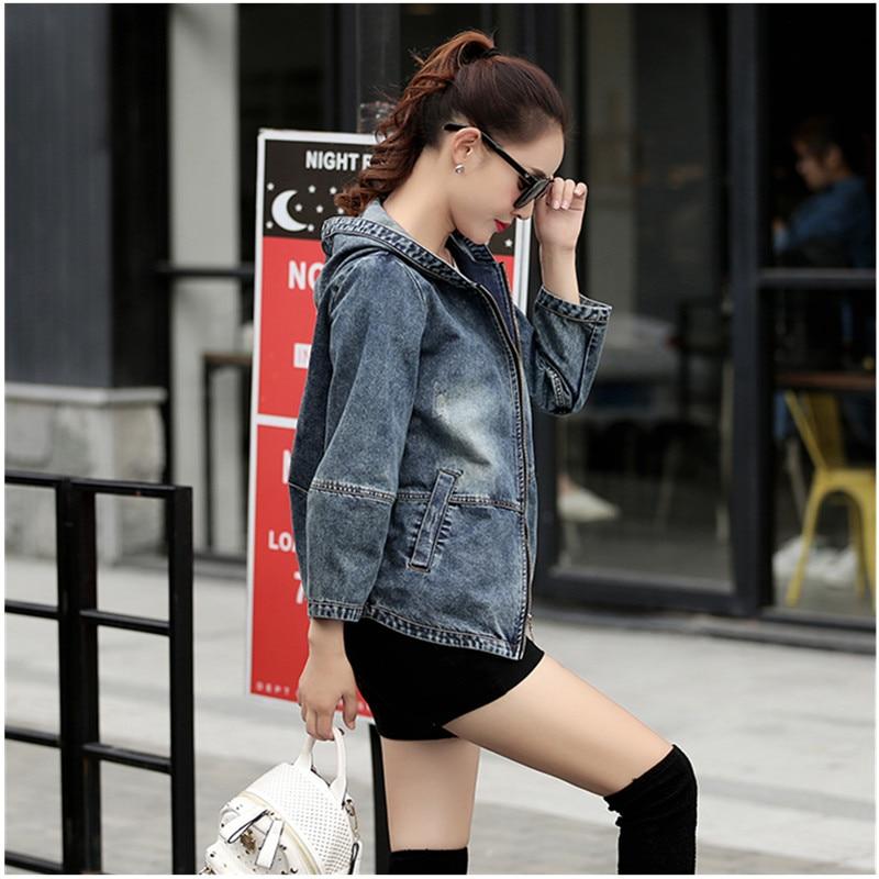 Plus Größe 4XL 5XL 2018 Frühling Bomber Jacke Frauen Bestickte Denim Jacke Bombers Mit Kapuze Jaqueta Jeans Frauen Basic Mäntel