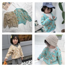 fashion kids knitted cardigan spring autumn cotton jacquard sweaters girls child flower partern boy
