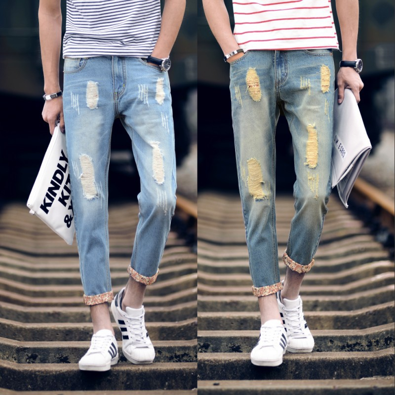 light color jeans male nine points pants male beggars 9 pants in summer mens pants and t ...