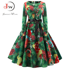 Women Elegant Christmas Dress Long Sleeve Print Vintage Belt Party Dress