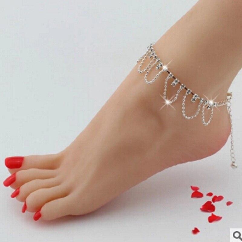 Celeb Crystal Rhinestone Charm Drop Ankle Chain Bracelet Anklet Wedding Jewelry