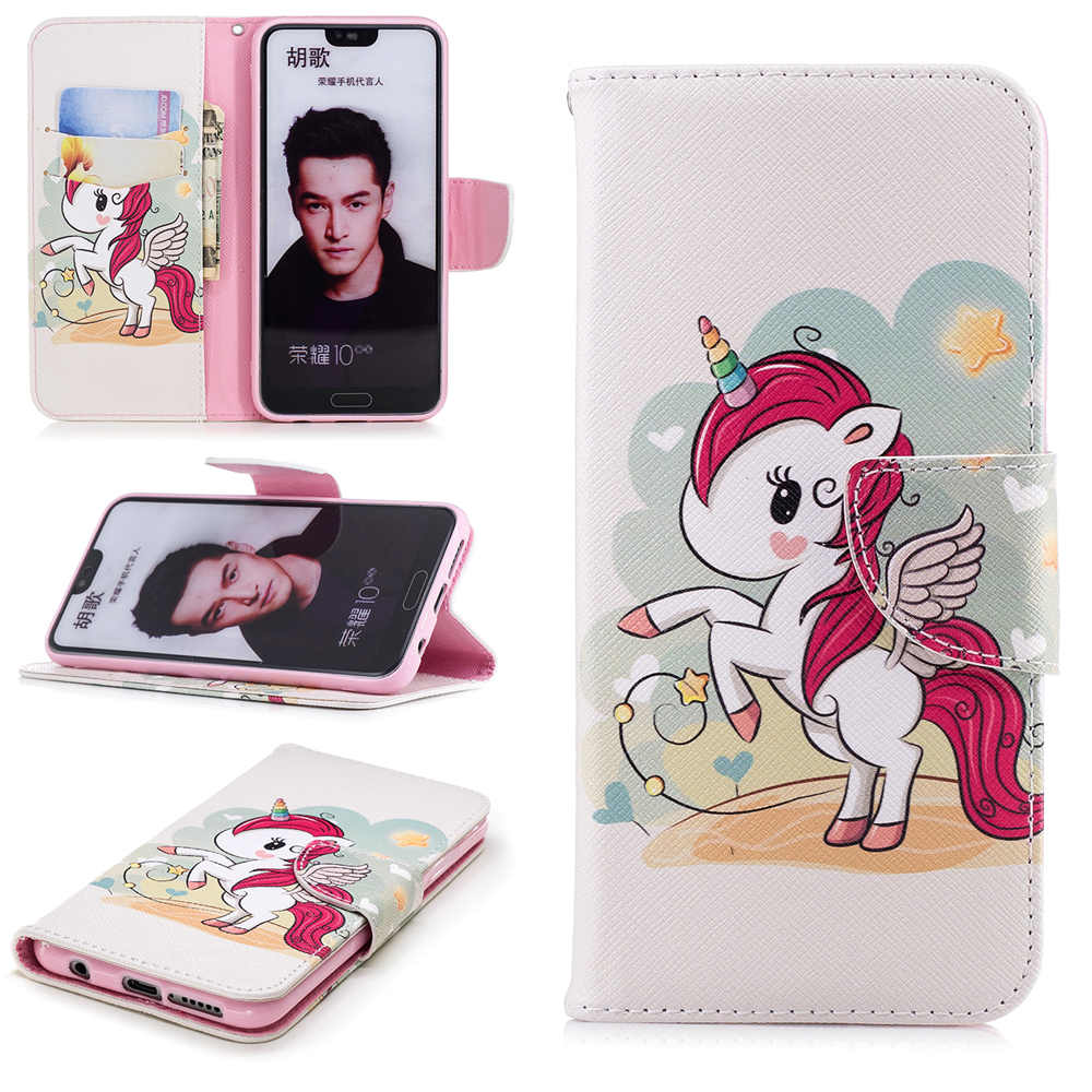 Cute Cartoon Leather Case For Funda Huawei Honor 10 Wallet Case Flip Wallet Phone Cases For Coque Huawei Honor 10 Case Cover in Flip Cases from Cellphones Telecommunications