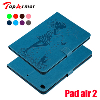 TopArmor For Apple IPad Air Case High Quality Girl Cat Embossed PU Leather Flip Stand Case