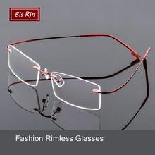 Optical Glasses Frame Man Woman Square Computer Rimless Eyeglasses Lightweight Memory Titanium Myopia Spectacle Z518
