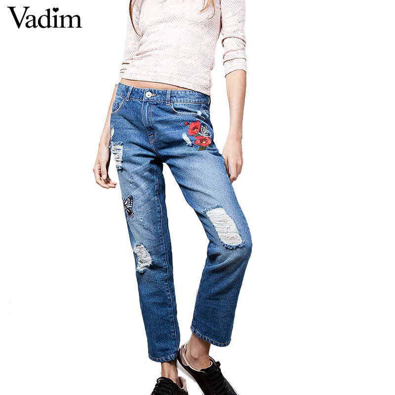 Women Floral Butterfly Embroidery Denim Jeans Vintage