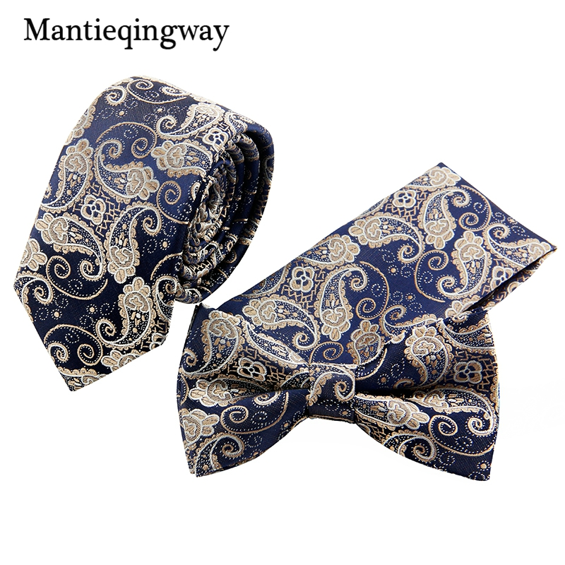 Mantieqingway Business Small Floral Necktie&Pocket Square&Bow Tie Set Mens Suits Papillon Skinny Corbatas Handkerchief Towel